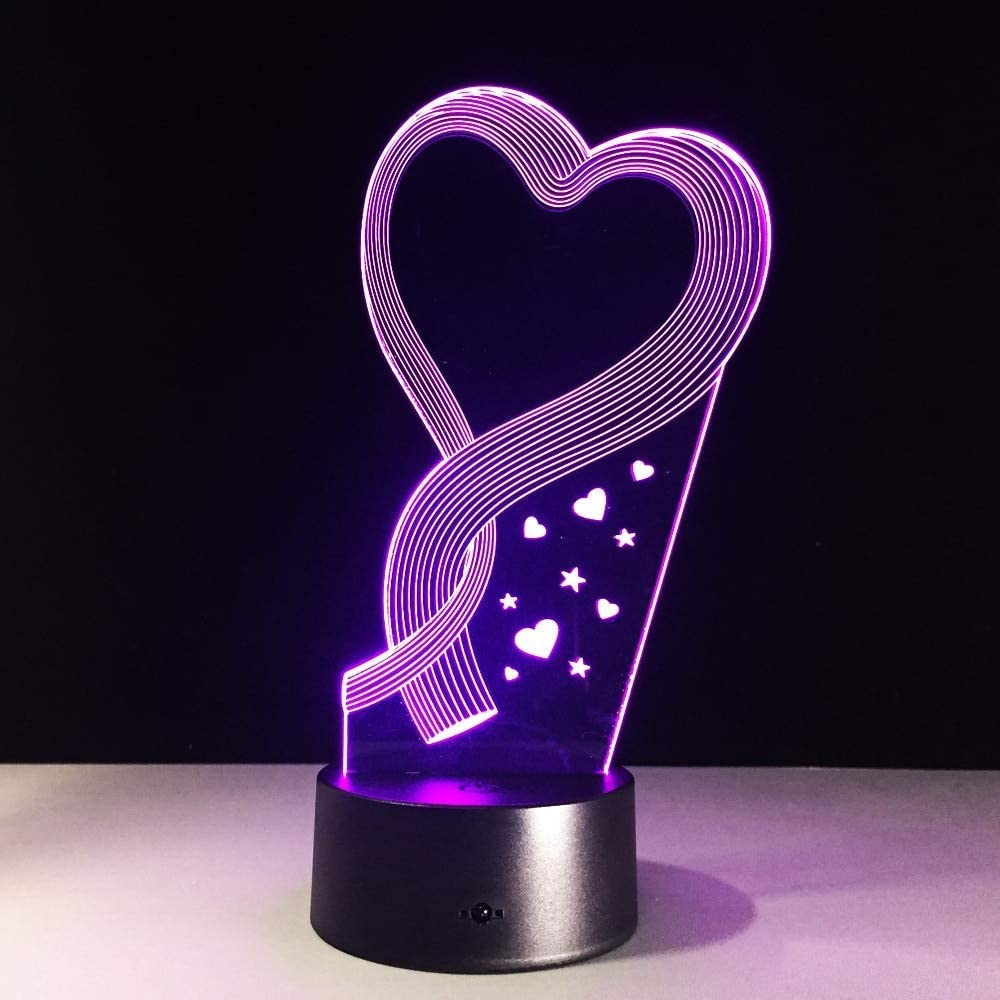 KLJLFJK Best Shape Heart Lamp Led 3D Illusion Led Table Lamp with 7 Color Changing Night Lights As Hologram Decoration for Home with Remote Control