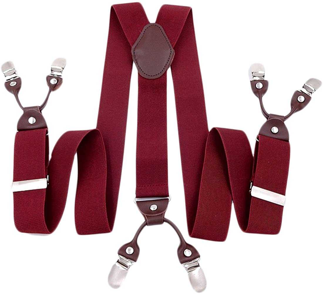 Mens Suspenders Suit Brace Y-back Leather Heavy Duty Suspender with 6 Metal Clip