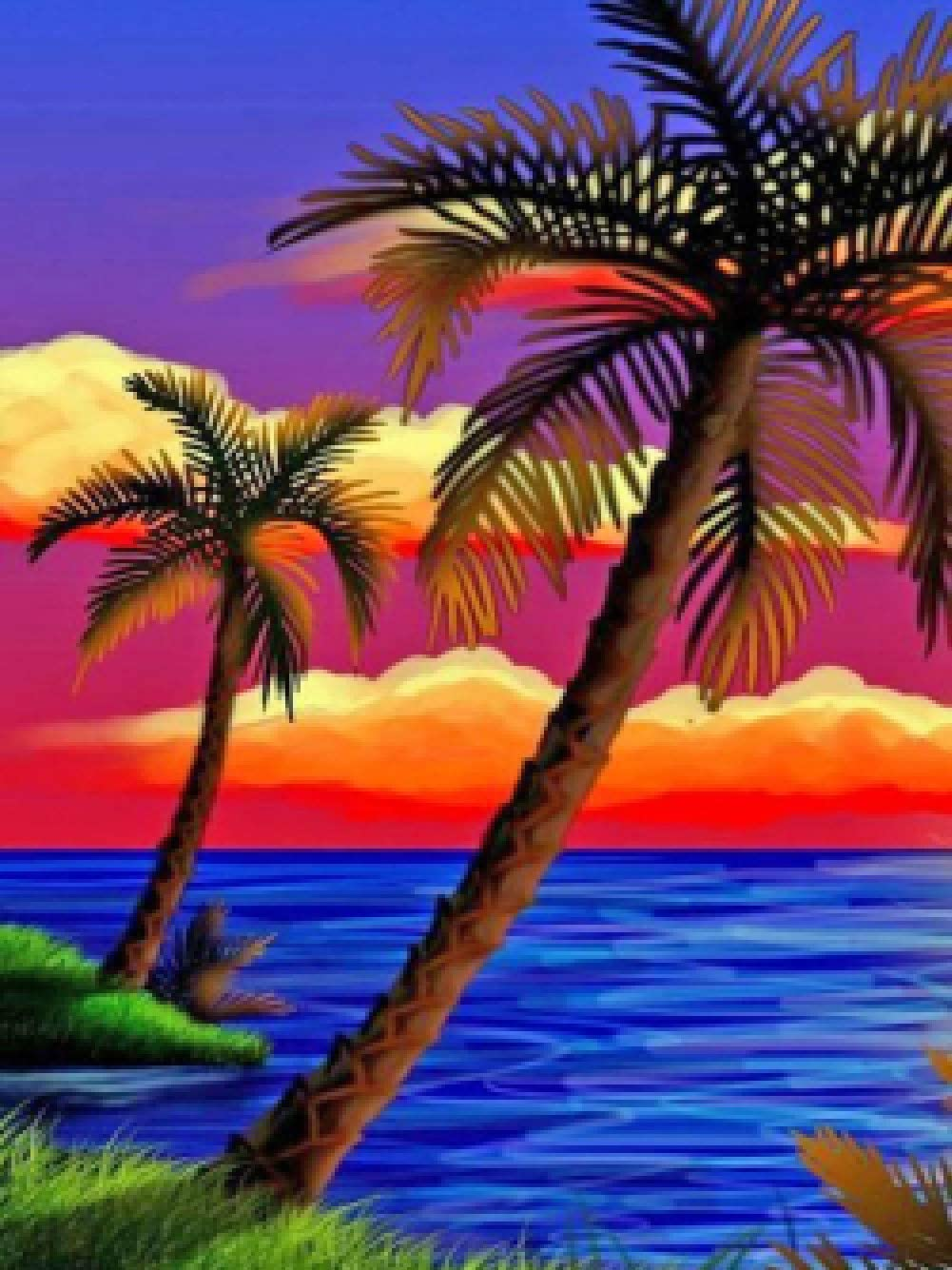 DIY 5D Diamond Painting Kits for Adults Full Drill, Crystal Rhinestone Diamond Embroidery Beach Coconut Tree Crafts Cross Stitch, Wall Stickers for Living Room Decoration 30x40 cm/12x16 Inch