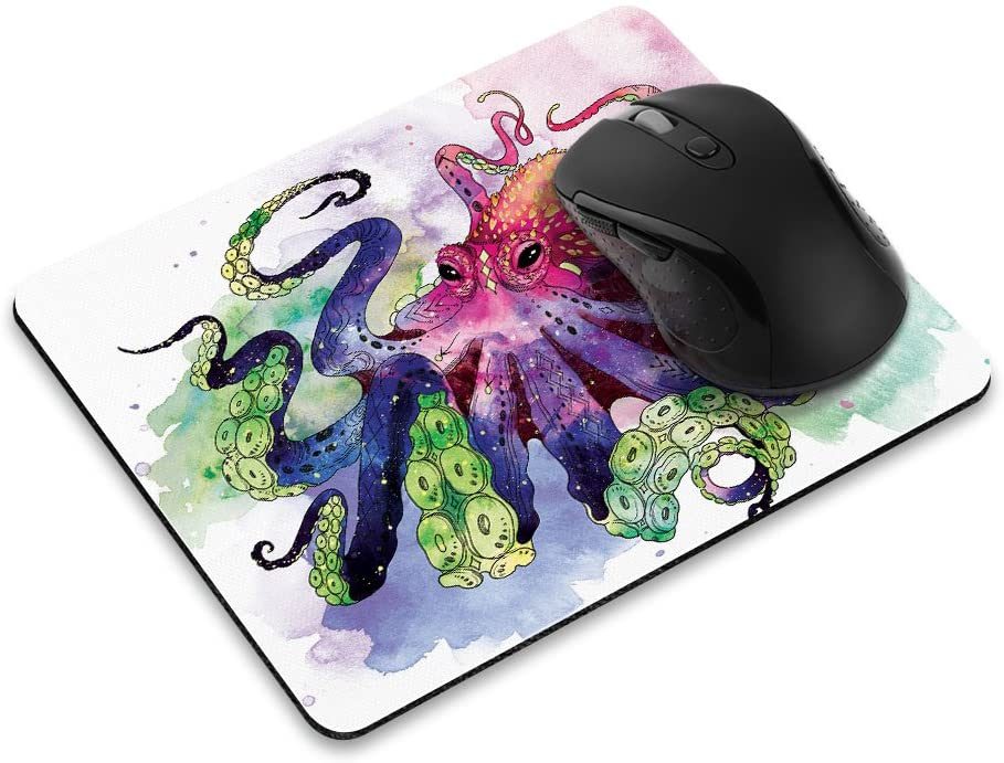Non-Slip Rectangle Mousepad, FINCIBO Colorful Octopus Mouse Pad for Home, Office and Gaming Desk