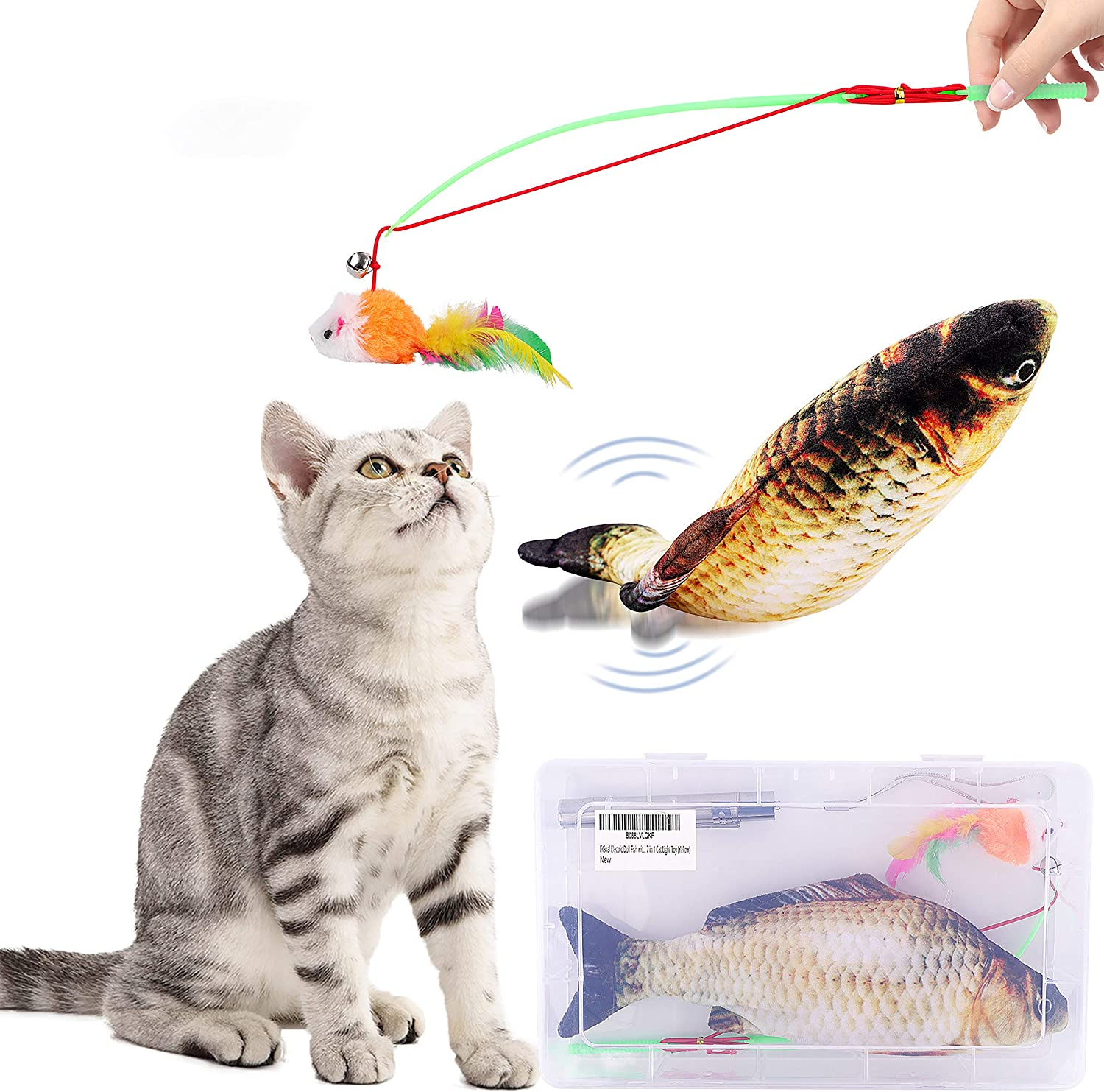 FiGoal Cat Toy Set Realistic Moving Fish Flopping Interactive Wiggle Moving Cat Kicker Fish Toy with Plush Interactive Cat Toys, Fun Toy for Cat Exercise Yellow