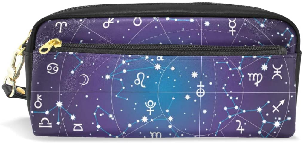 Pencil Case Big Capacity Pencil Bag Makeup Pen Pouch 12 Constellation Universe Galaxy Space Stars Durable Students Stationery Pen Holder for School/Office