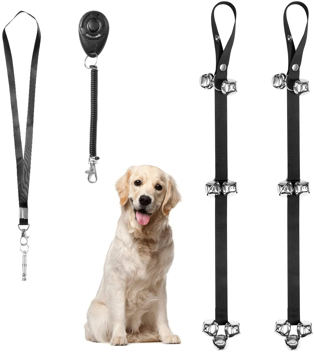 Haokaini Pet Dog Training Set Adjustable Dog Doorbells Premium Quality Training Clicker Whistle for Puppies Dogs Doggy Doggie Pooch Pet Cat