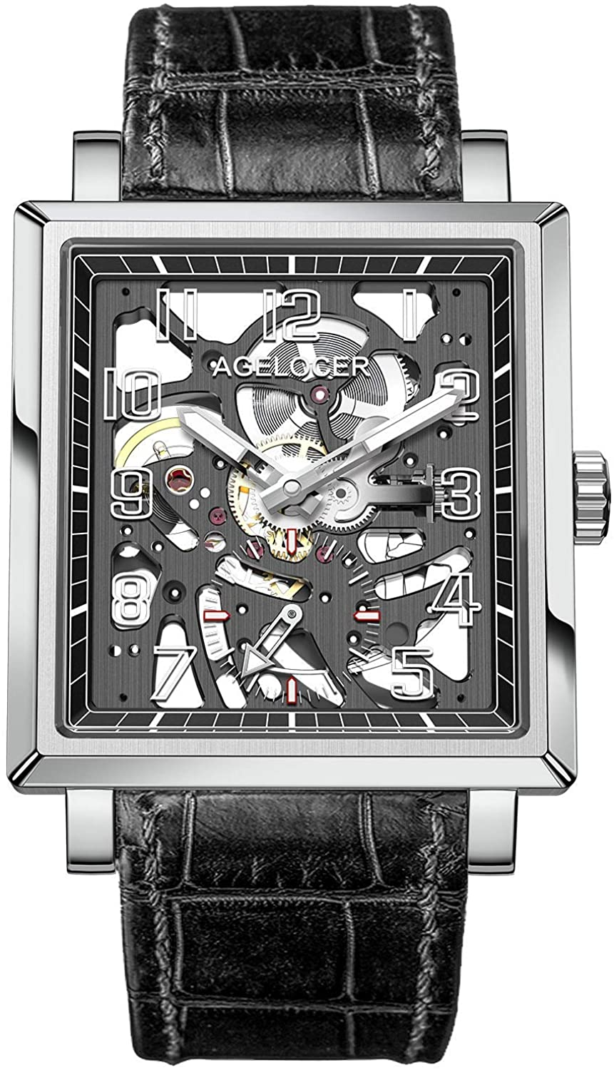 Agelocer Men's Double-Sided Hollow Black Steel Dual Time with Luminous Analog Square Seconds Dial Watch