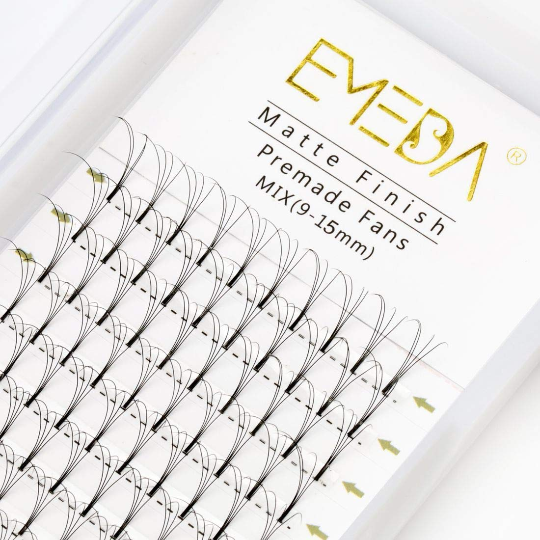 Premade Fans Volume Lash Extensions C D Curl 0.10 Mix Tray 9mm 10mm 11mm 12mm 13mm 14mm 15mm 16mm Mixed Trays .10 4D Pre Fanned Russian Cluster Eyelashes by EMEDA (4D 0.10 C 14mm)