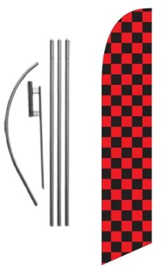 Black and Red Checkered Outdoor Feather Banner Swooper Flag Sign with Flag Pole Kit and Ground Stake