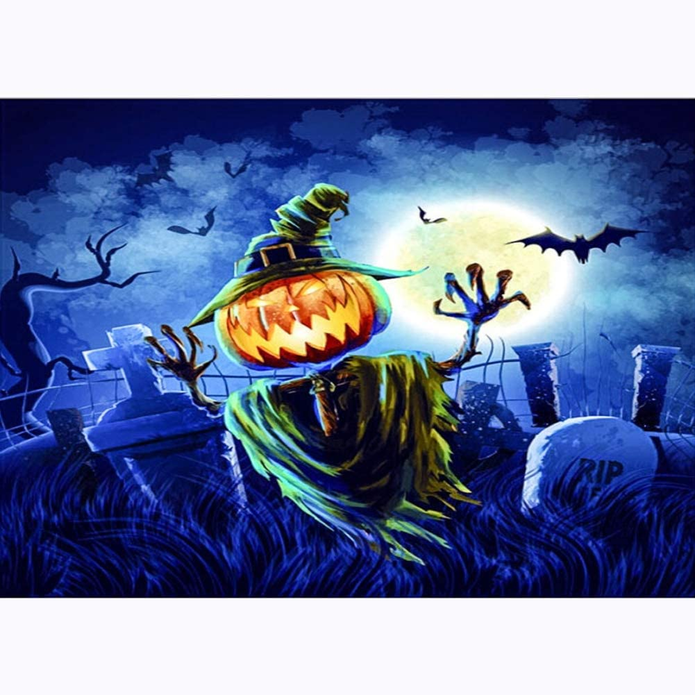 Lushandy 5D Diamond Painting Halloween Full Drill by Number Kits for Kids Adults Embroidery Cross Stitch Arts Craft Canvas Supply for Home Wall Decor Gift 12 x 16 Inch - Pumpkin Grass Man