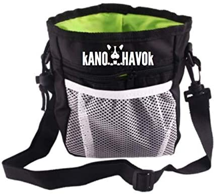 KanoHavok Dog Pet Large Treat Bag, Training Pouch with Shoulder Strap, Multifunctional Pockets, Belt Loop and Waistband Hook for Security, Storage for Treats, Toys, and Accessories