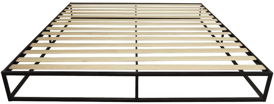 AYNEFY Simple Bed Frame, 10 Inch Rustic Basic Iron Platform Bed Mattress Foundation with Wood Slats Support Bedstead Slatted Bed Base King Size Black