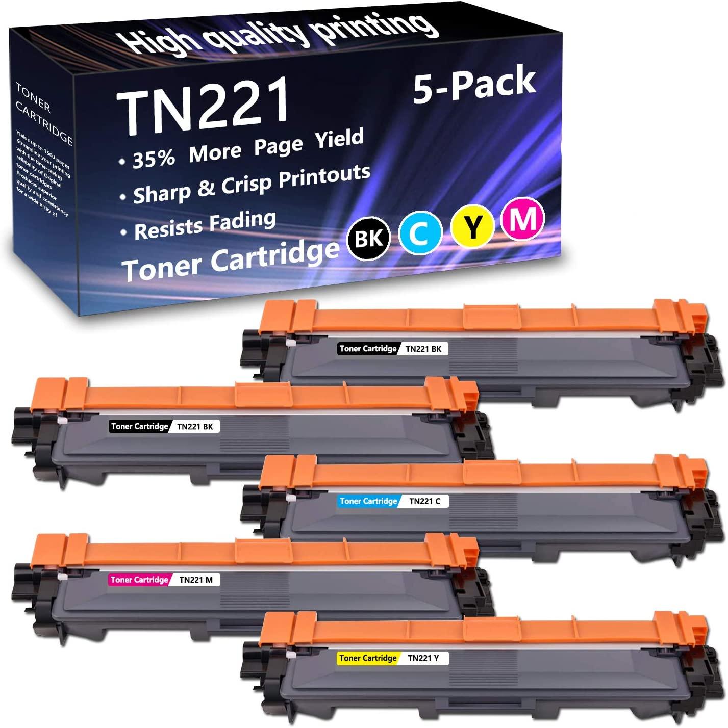 5 Pack (2BK+1C+1M+1Y) TN221 Toner Cartridge Replacement for Brother HL-3140CW 3150CDN 3170CDW 3180CDW MFC-9130CW 9140CDN 9330CDW 9340CDW DCP-9015CDW 9020CDN Printers,Sold by AlToner.