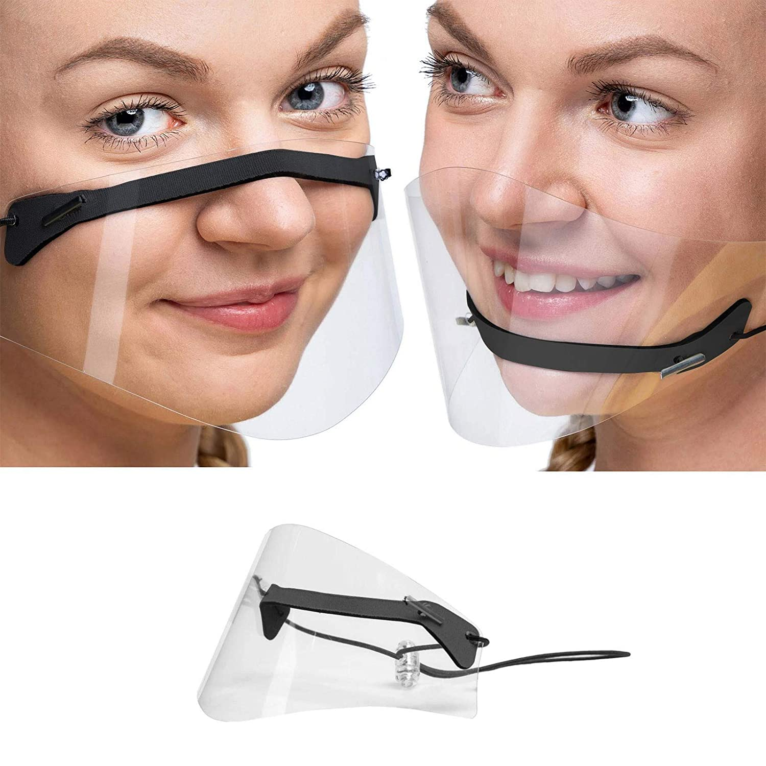【US Stock】Adults Face Bandana_Covering_MASK Mini Shield Washable Reusable Comfortable face covering Transparent PVC Visual face covering Protection Breathable