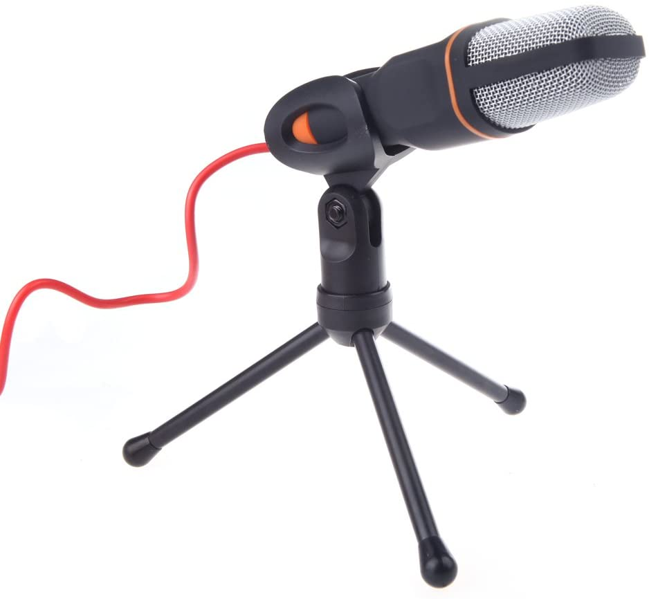 Docooler Portable Mic Wired Condenser Microphone with Holder Clip Wide Frequency Response Plug and Play for Chatting Singing Karaoke PC Laptop Black