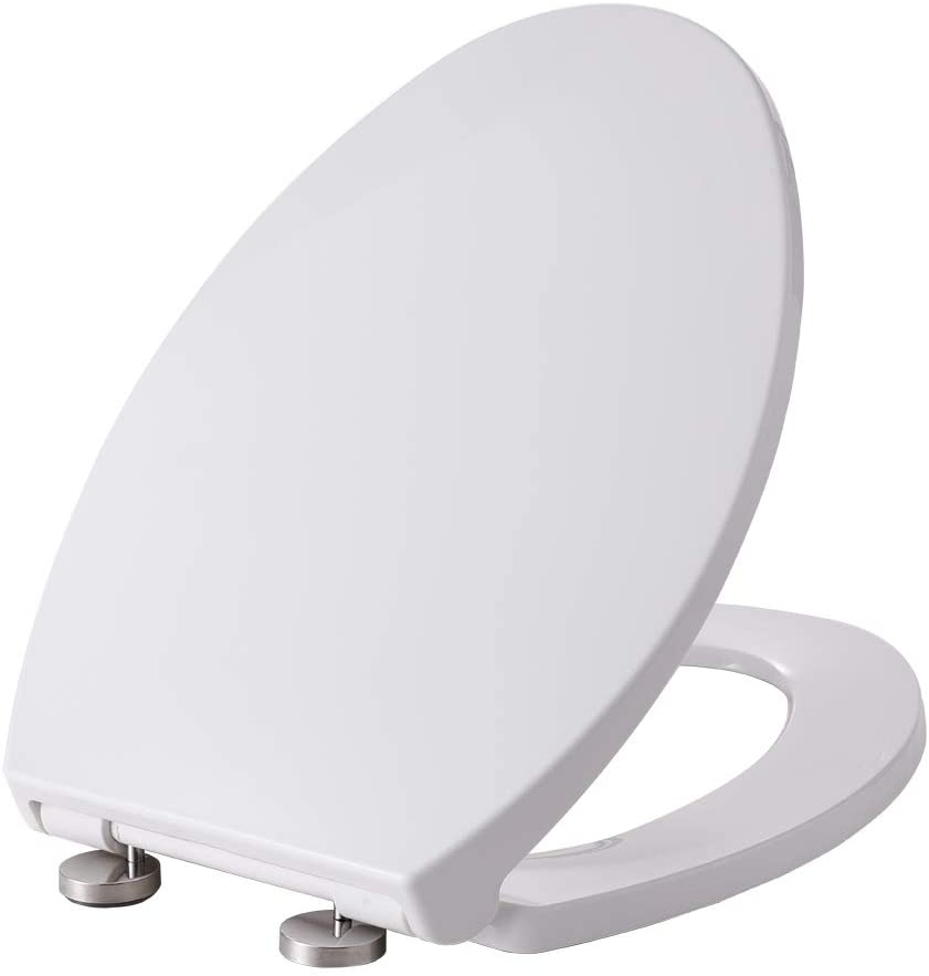 Buffer Toilet Seat Fastening System Stainless Steel Hinges with Quiet Close Easy Clean White