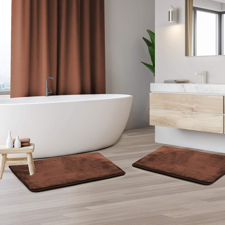Memory Foam Bathrug 2 Pack Set - Chocolate (Brown) - Bath Mat and Shower Rug Small 17