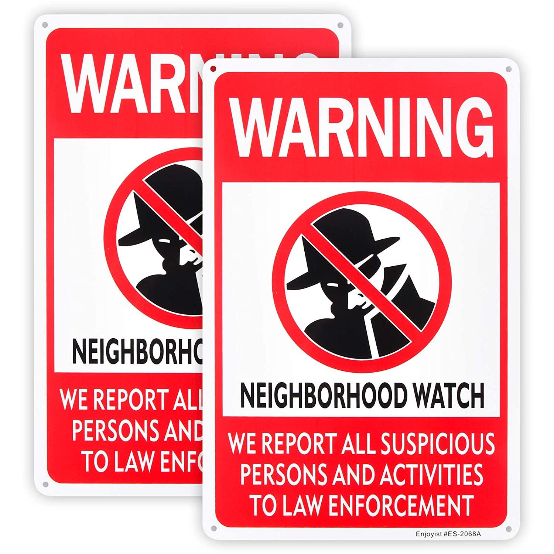 2-Pack Neighborhood Watch Sign,12x 8 .04 Aluminum Reflective Sign Rust Free Aluminum-UV Protected and Weatherproof