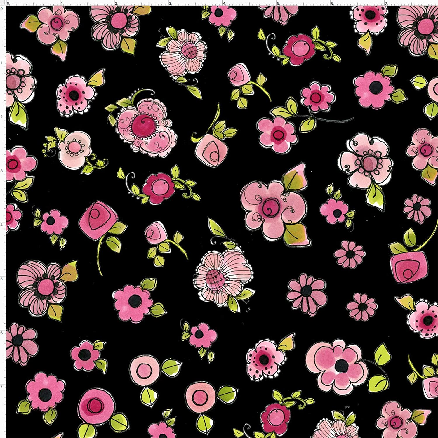 Loralie Designs Black Love Your Look Salon Parlor Posies Fabric by The Yard, Washable