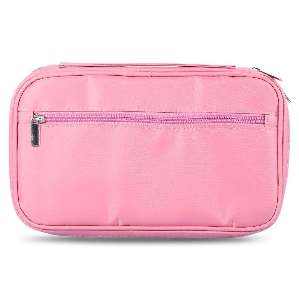 ANGGREK 2Colors Professional Makeup Brushes Bag Toiletry Organizer Cosmetic Storage Case Zipper Handbag(Pink)