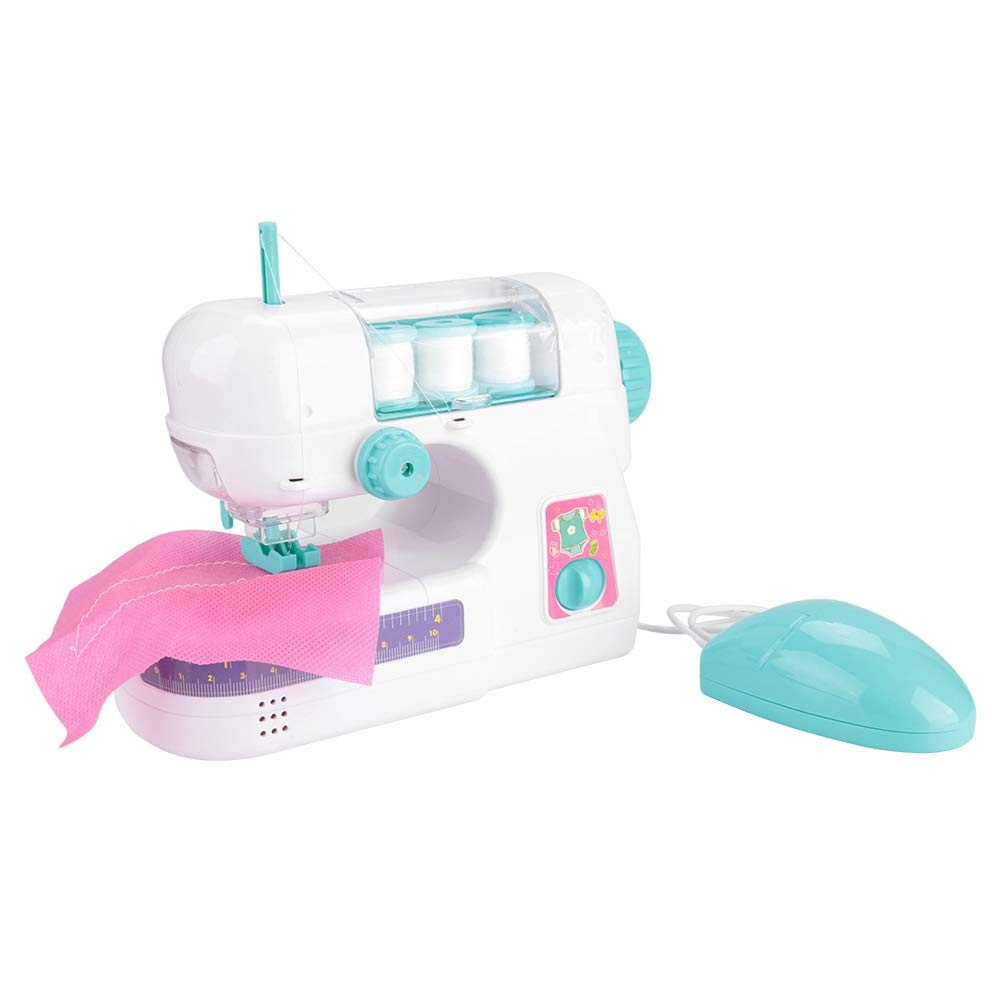 Mini Electric Sewing Machine Toy, Children Plastic Indoor Pretend Toys Educational Toy Early Cognitions Role Play Game with Accessories Kids Christmas Birthday Gift for Child Toddlers