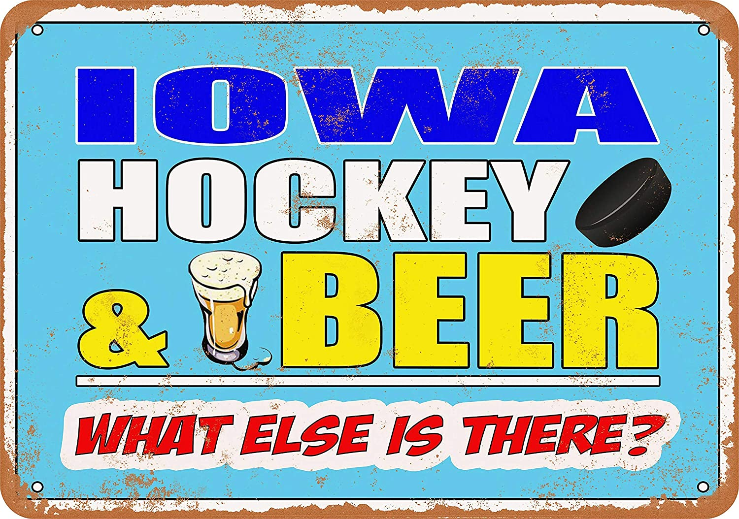 Iowa Hockey and Beer Vintage Look 8x12 Inches Metal Tin Sign Retro - Wall Decor Plaque Poster