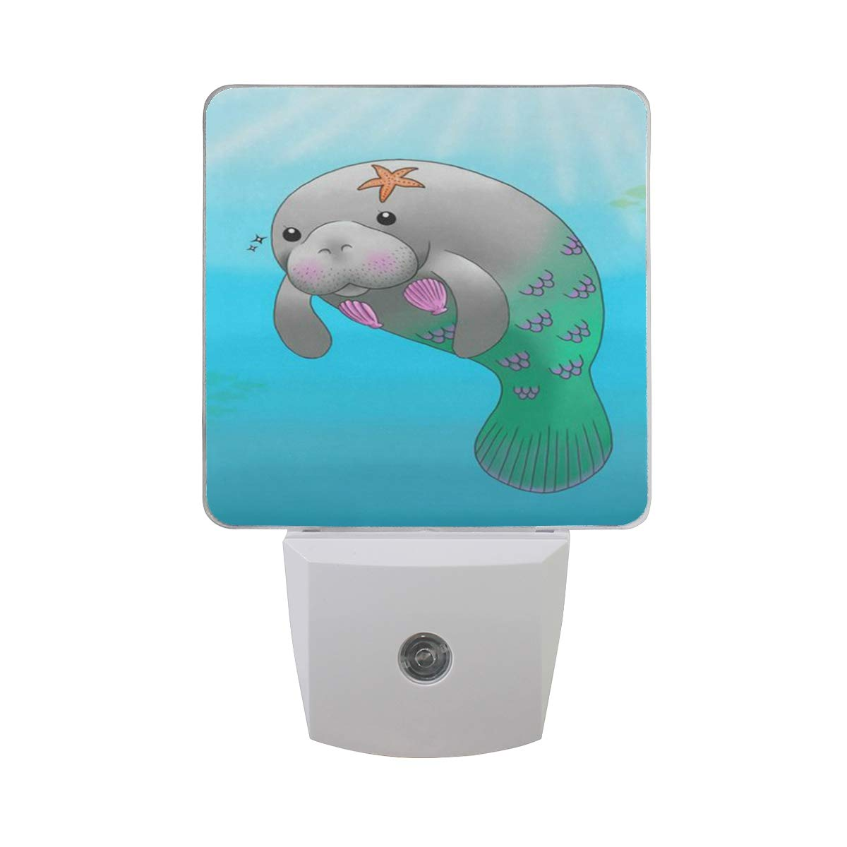 Linomo LED Night Light Lamp Cute Sea Cow Manatee Mermaid Auto Senor Nightlight Plug in for Kids Adults Boys Girls Bedroom Decor, 2 Pack