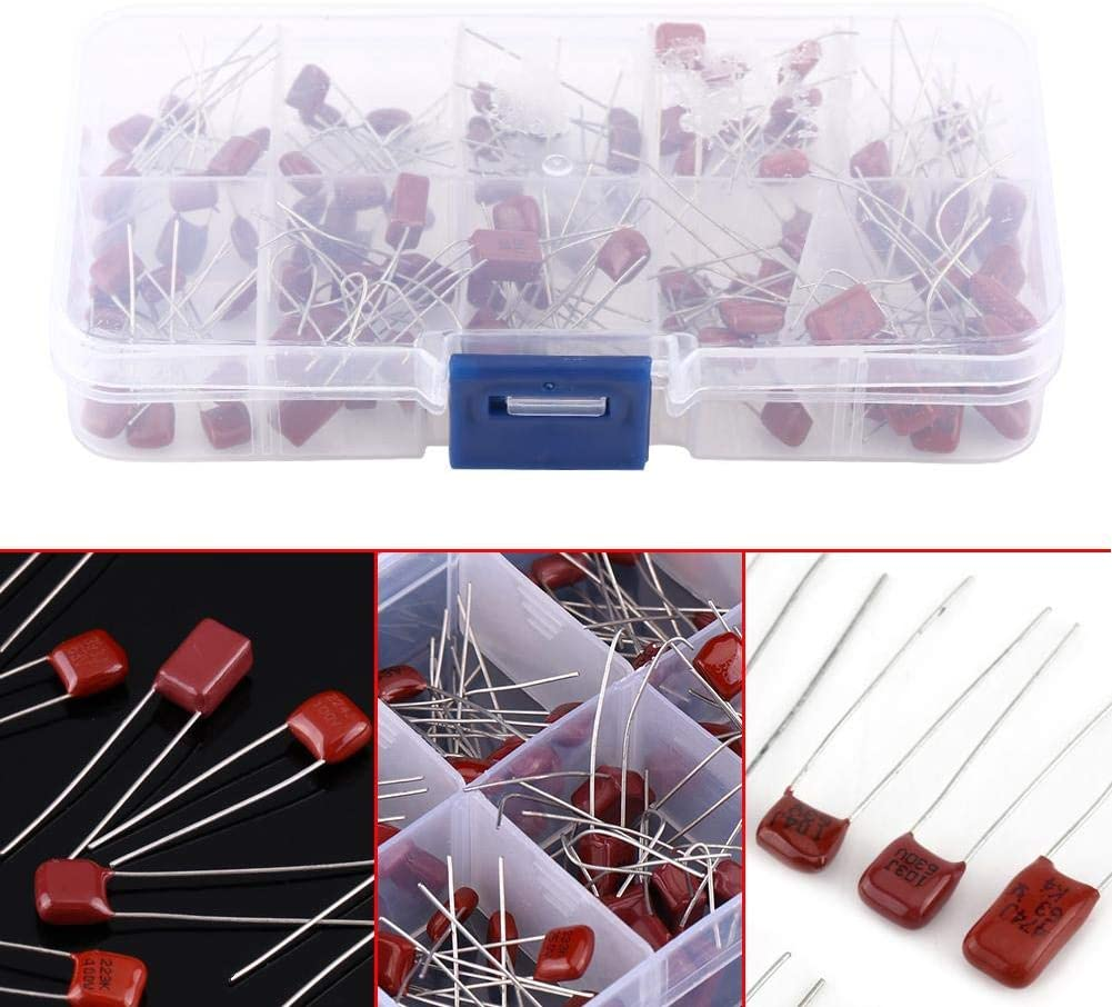 100pcs capacitors assortment kit,10nF ~ 470nF 10 Valued Electrolytic capacitors CBB Polypropylene Film with Storage Box for Electronic DIY