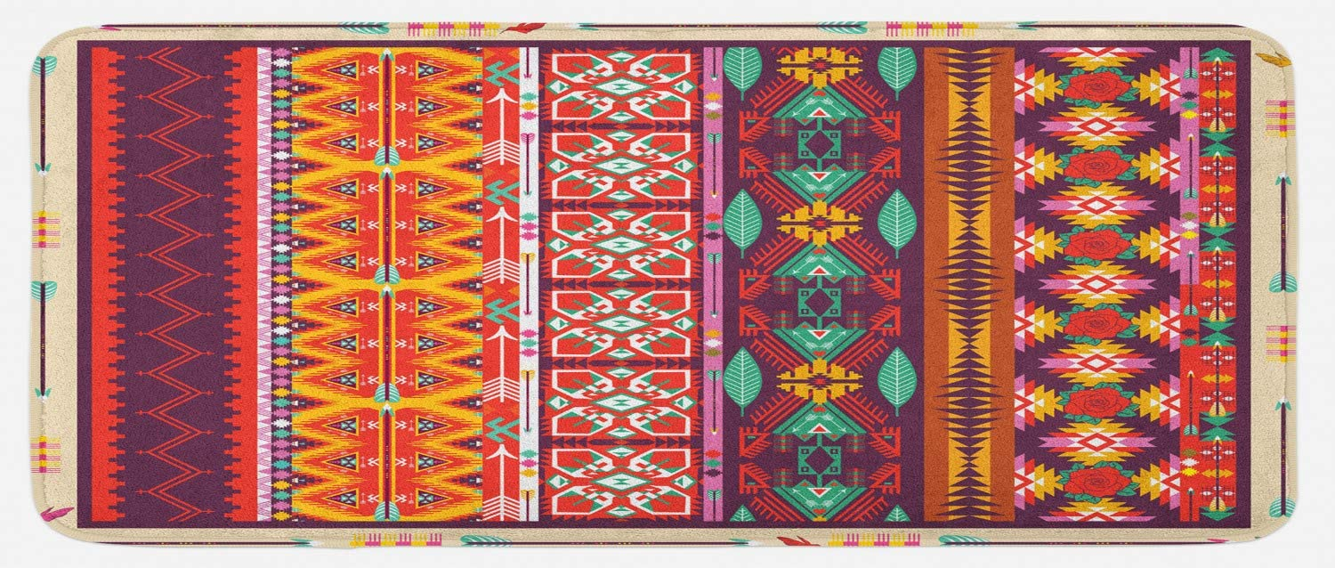 Lunarable Aztec Kitchen Mat, Colorful Pattern Birds Flowers and Arrows Mayan Latino Cultural Heritage Theme, Plush Decorative Kitchen Mat with Non Slip Backing, 47 X 19, Multicolor