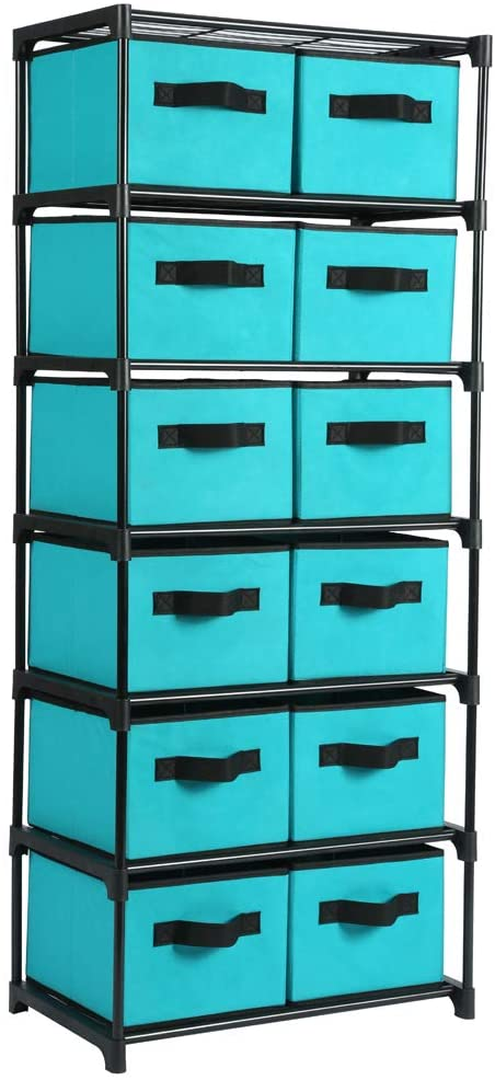 Function Home 12-Drawer Chest, 6 Tier Storage Organizer Tower, Metal Shelf with 12 Removable Fabric Bins, Ideal for Home Office Dorm Bedroom, Turquoise