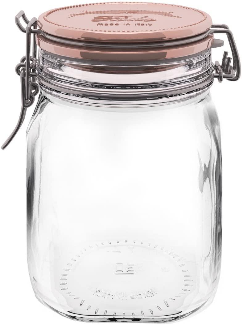 Bormioli Rocco Glass Co Fido Square Metallic Lid Jar, 33.75 oz, Copper