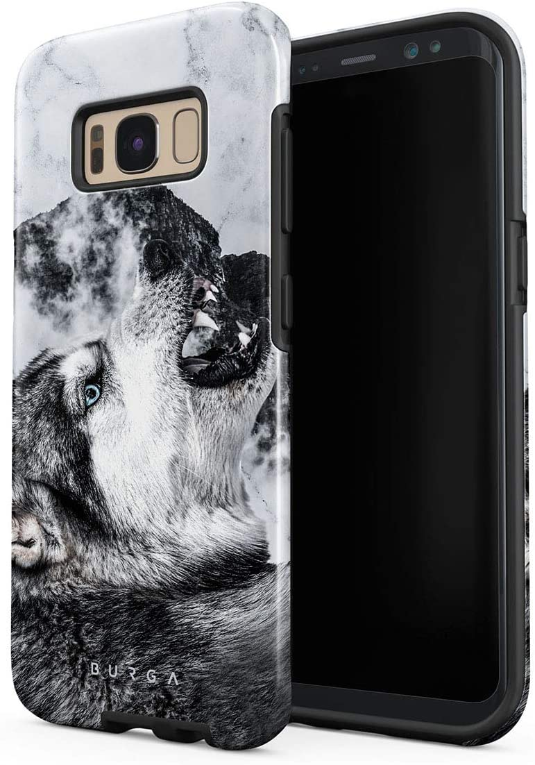 BURGA Phone Case Compatible with Samsung Galaxy S8 Plus - Disturbed Mind Savage Wild Wolf Cute Case for Girls Heavy Duty Shockproof Dual Layer Hard Shell + Silicone Protective Cover