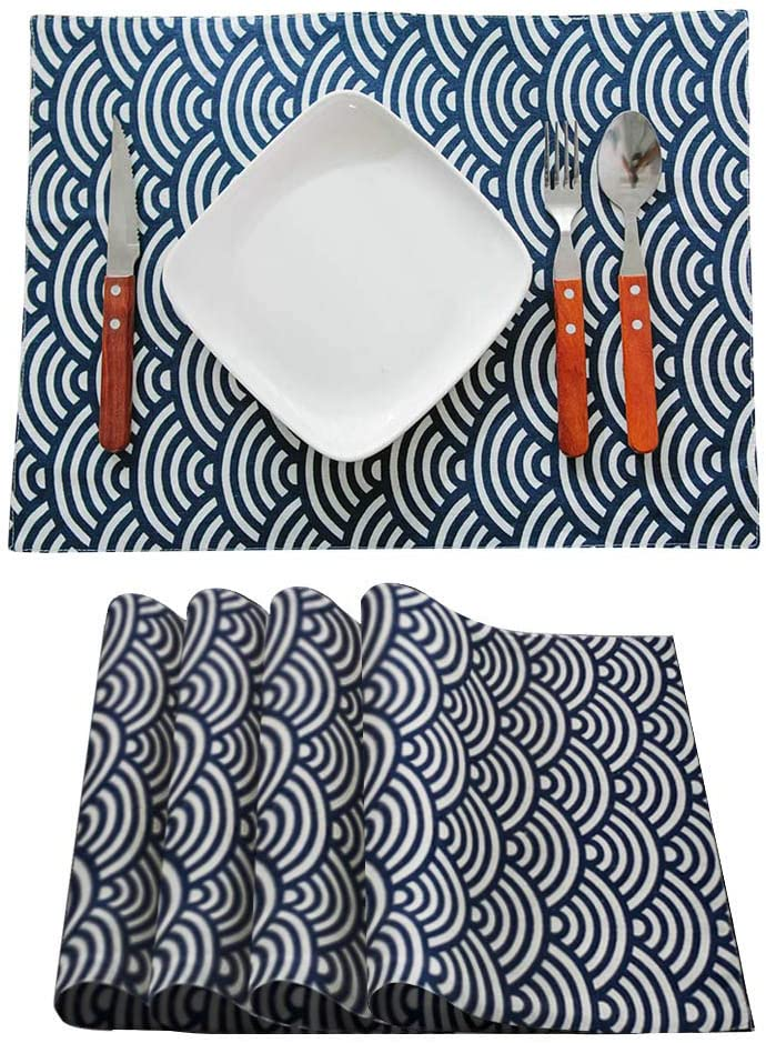 Placemats Soft Cottton Linen Woven Resistant Anti-Skid Washable Table Mats Heat-Resistant Dining Decoration Kitchen Japanese Traditional Print Set of 4 (30-Waves, 4pcs 12
