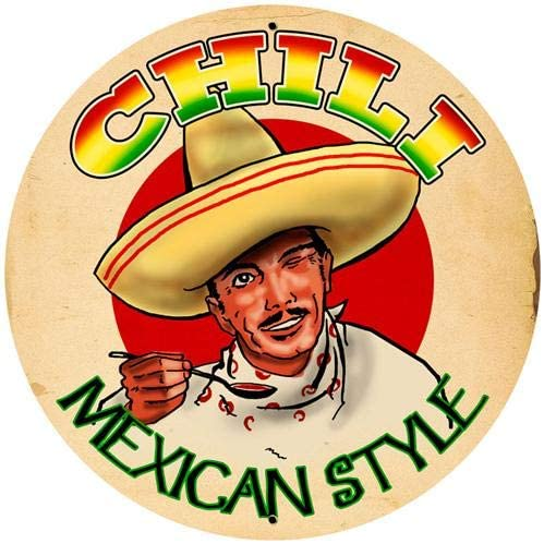 12x12 Inches Circular Metal Sign,Chili Mexican Style,Vintage Round Tin Sign Nostalgic Funny Iron Painting