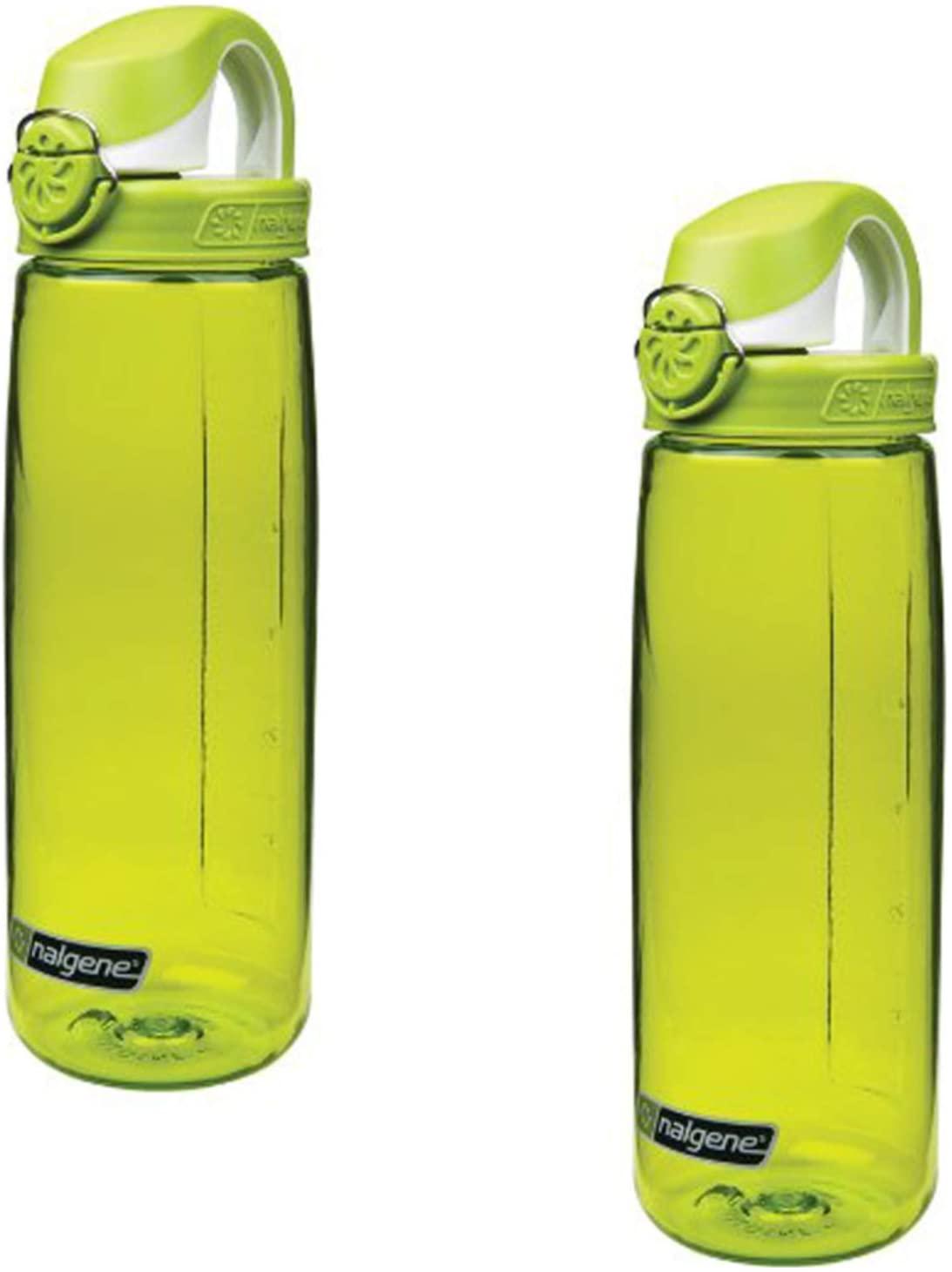 Nalgene On The Fly 24 oz Water Bottle Green w/Green and White Cap - 2 Pack