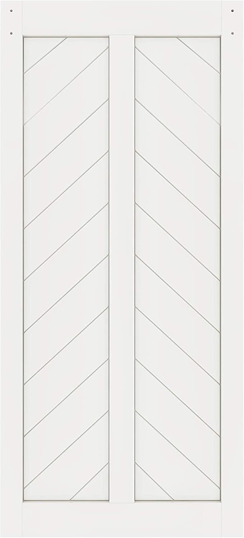 DIYHD 38X84in Fish Bone V Shape Sliding Barn Slab MDF Solid Core Primed Interior Panel(Disassembled), 38X84 in, White Door