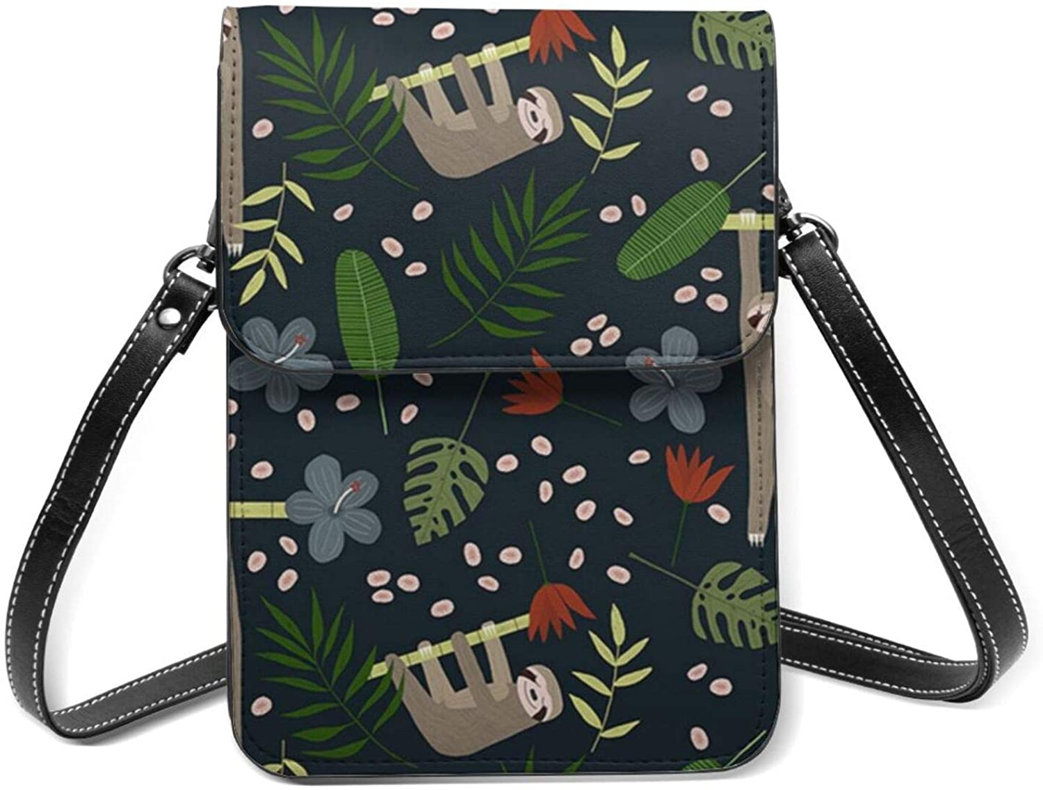 Package Sloth Spoonflower Small Leather Shoulder Bagcellphone Wallet Purse Lightweight Crossbody Handbags For Women