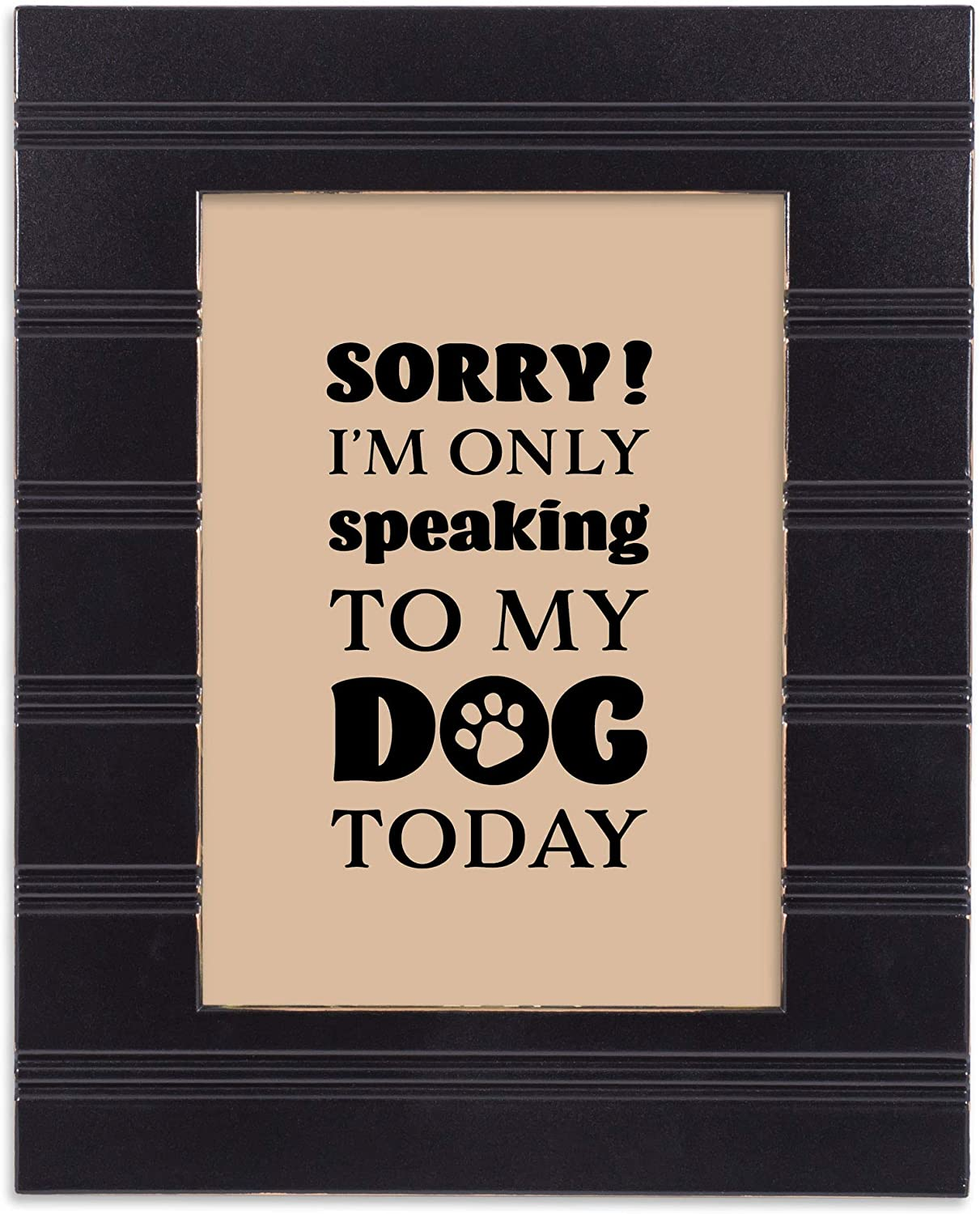 Elanze Designs Speaking to My Dog Midnight Black 5 x 7 Beaded Board Wood Picture Frame Plaque