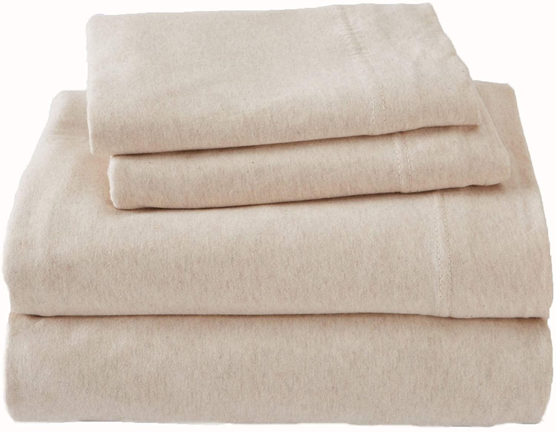 Jersey Knit Sheets. All Season, Soft, Cozy Twin Jersey Sheets. T-Shirt Sheets. Jersey Cotton Sheets. Heather Cotton Jersey Bed Sheet Set. (Twin, Oatmeal)