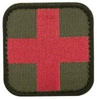 EMBROIDERED RED CROSS PATCH-RED ON OD GREEN