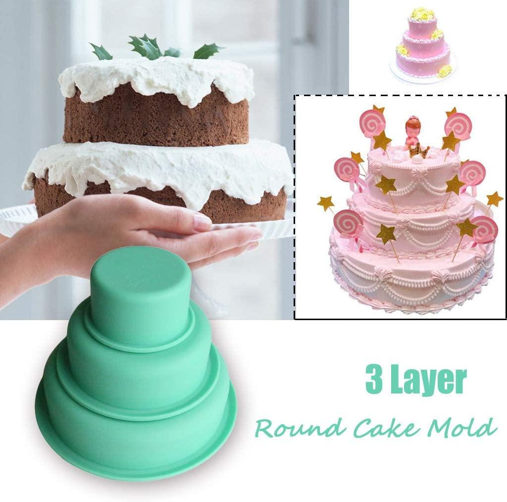 Non-Stick Cake Pan Set of 3, Haokanba Layer Round Small Cheesecake Cake Mold Silicone Baking Pan Perfect -Non-Toxic & Healthy, Mirror Finish & Dishwasher Safe