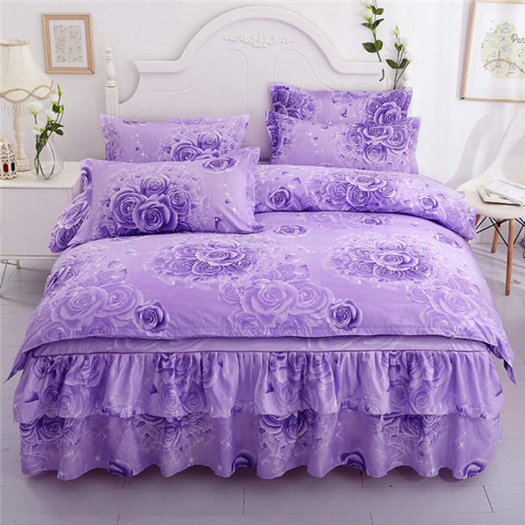 BERTERI Elegant Purple Flower Printed Bedding Set with Bed Skirt Duvet Cover for Queen King Size Bed