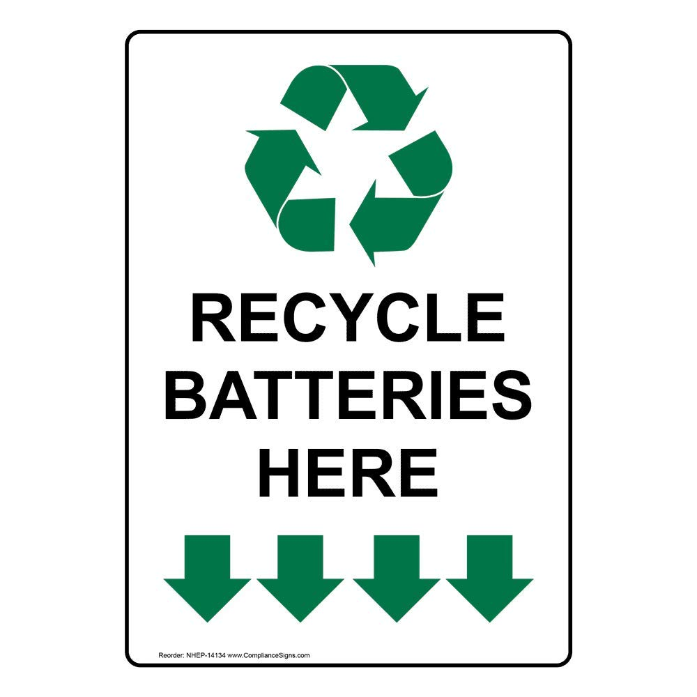 Vertical Recycle Batteries Here Label Decal, 5x3.5 in. 4-Pack Vinyl for Recycling/Trash/Conserve by ComplianceSigns