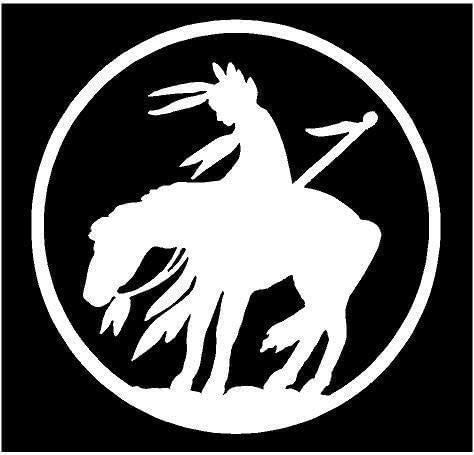 White Vinyl Decal - Last Ride Indian on Horse Native American Fun Sticker Trail, Die Cut Decal Bumper Sticker for Windows, Cars, Trucks, Laptops, Etc.