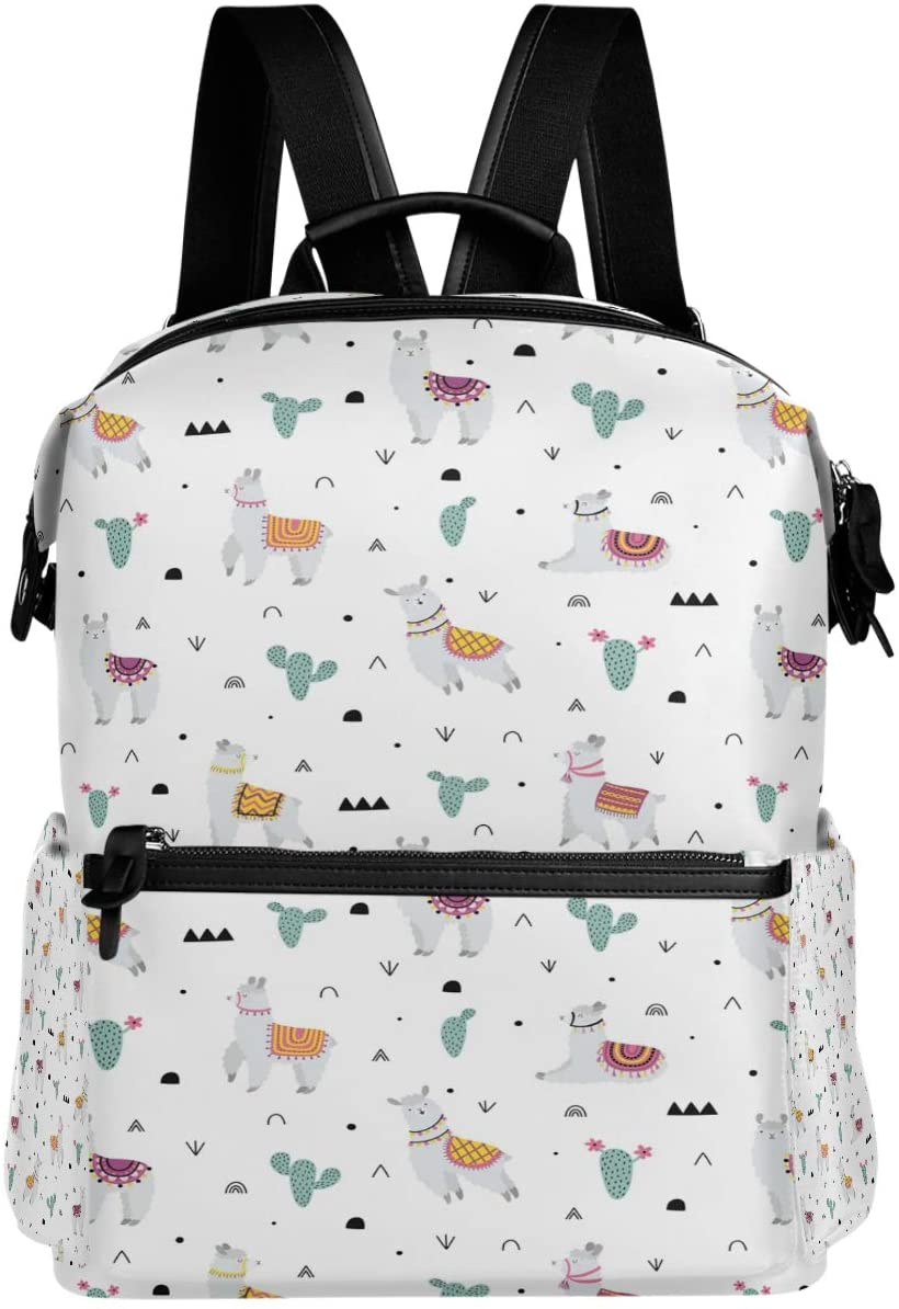 Oarencol Llama Cactus Backpack Cute Animal Flower Africa School Book Bag Travel Hiking Camping Laptop Daypack