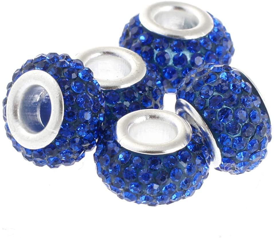 RUBYCA Big Hole Handmade Czech Crystal Slide Beads fit European Charm Bracelet (5pcs, Blue, 11mm)