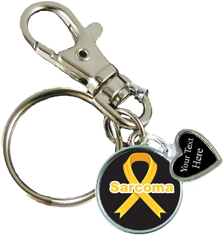 Custom Sarcoma Awareness Ribbon Key Chain Choose Your Text