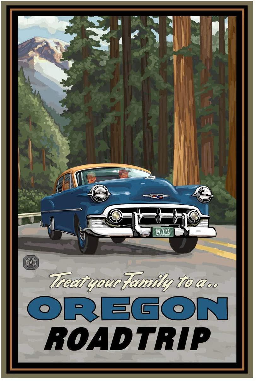 Oregon Road Trip Woods Giclee Art Print Poster from Original Travel Artwork by Artist Paul A. Lanquist 12