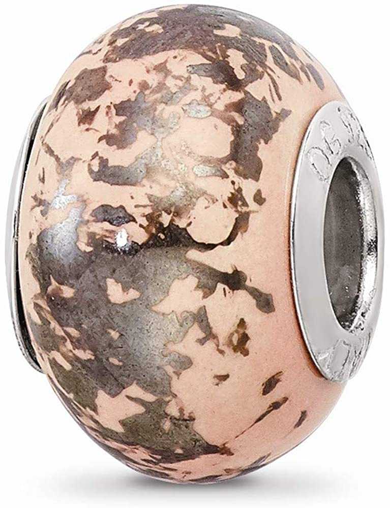 925 Sterling Silver Charm For Bracelet Pink Platinum Foil Ceramic Bead Fine Jewelry For Women Gifts For Her