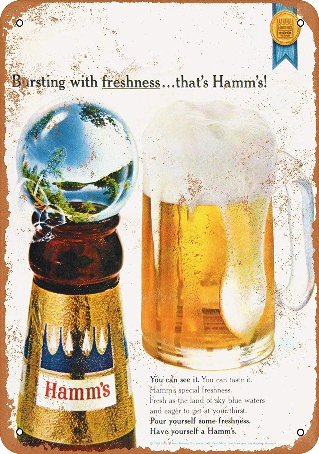 Yousigns Hamm's Beer 2 Metal Tin Sign 12 X 8 Inches Retro Vintage Decor