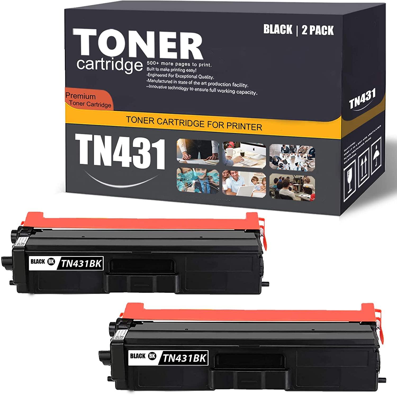 TN431BK 2 Pack(Black) Compatible TN431 Toner Cartridge Replacement for Brother Cartridge Compatible DCP-L8410CDW HL-L8260CDW L8360CDW L8360CDWT MFC-L8610CDW L8690CDW L8900CDW Printer Toner Cartridge