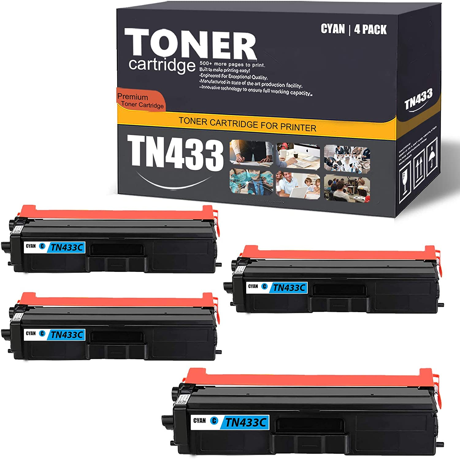 TN433C 4 Pack(Cyan) Compatible TN433 High Yield Toner Cartridge Replacement for Brother DCP-L8410CDW HL-L9310CDWTT L8260CDW L8360CDW MFC-L9570CDWT L8610CDW L9570CDW Printer Toner Cartridge