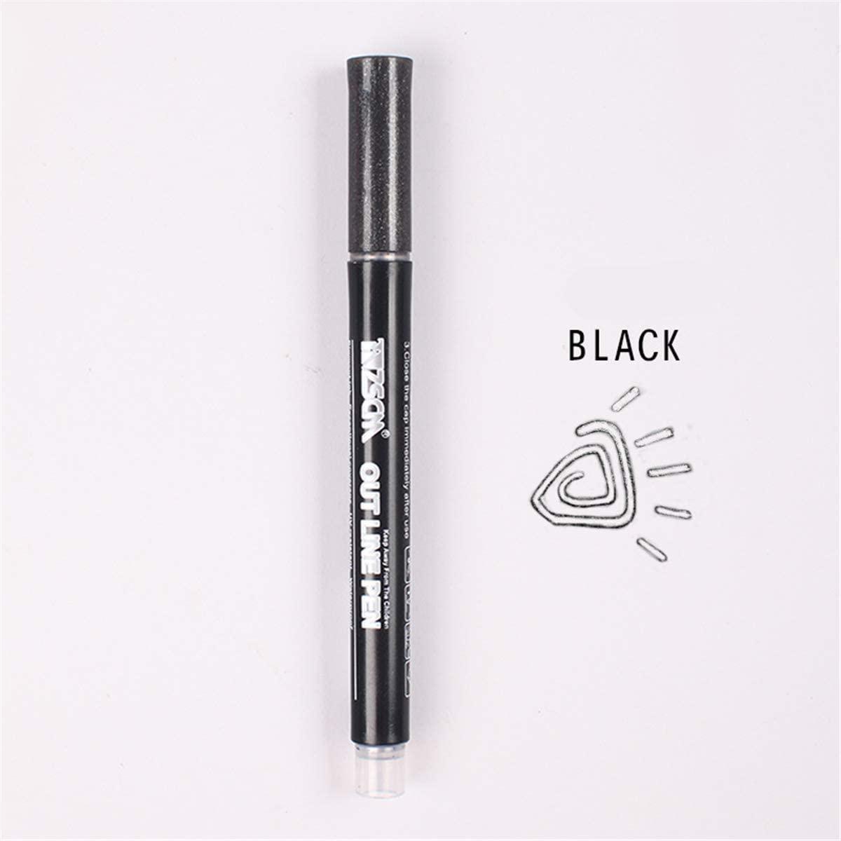 QINREN Double Lines Art Markers Pen Out Line Pen Scrapbooking Pens Fine Liner Marker Fineliner Calligraphy Lettering Pen Color,Black Color Hand Account Pen